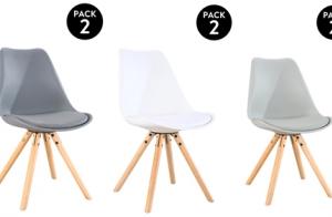 Pack 2 sillas Scandinavia en blanco, gris o gris oscuro