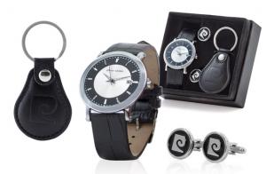 Conjunto de Pierre Cardin: reloj + gemelos + llavero